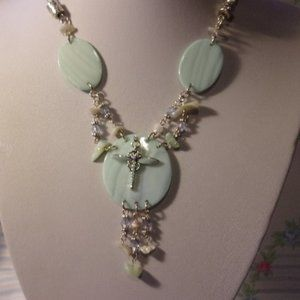 """Light Green Dragonfly Necklace 16"""" - 19"""" L"""